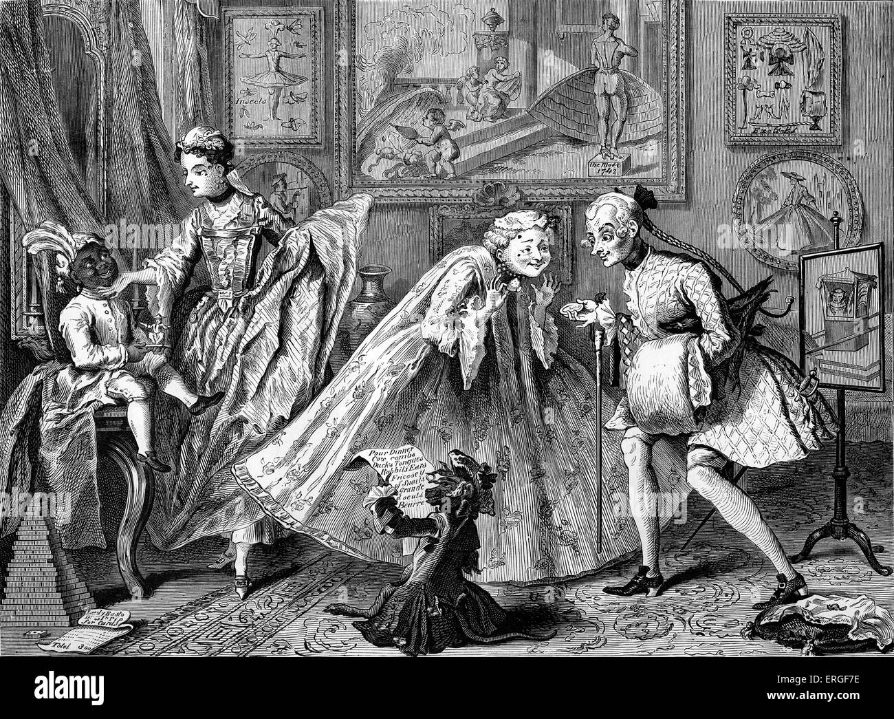 Taste in high life; or,  dress in 1742 by William Hogarth. WH: English artist - 1697 -1764. - Stock Image