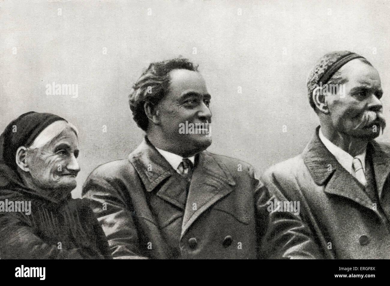 e513d05f53d7 Maxim Gorky with Georgi Dimitrov and Paraskeva Dimitrova (mother of Dimitrov)  in 18 October 1934. Dimitrov was charged with
