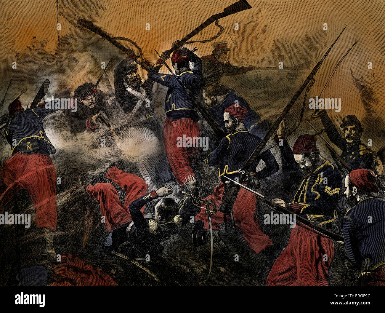 French soldiers at Battle of Malakoff,  7 September 1855, part of Siege of Sevastopol during Crimean War  (October - Stock Image