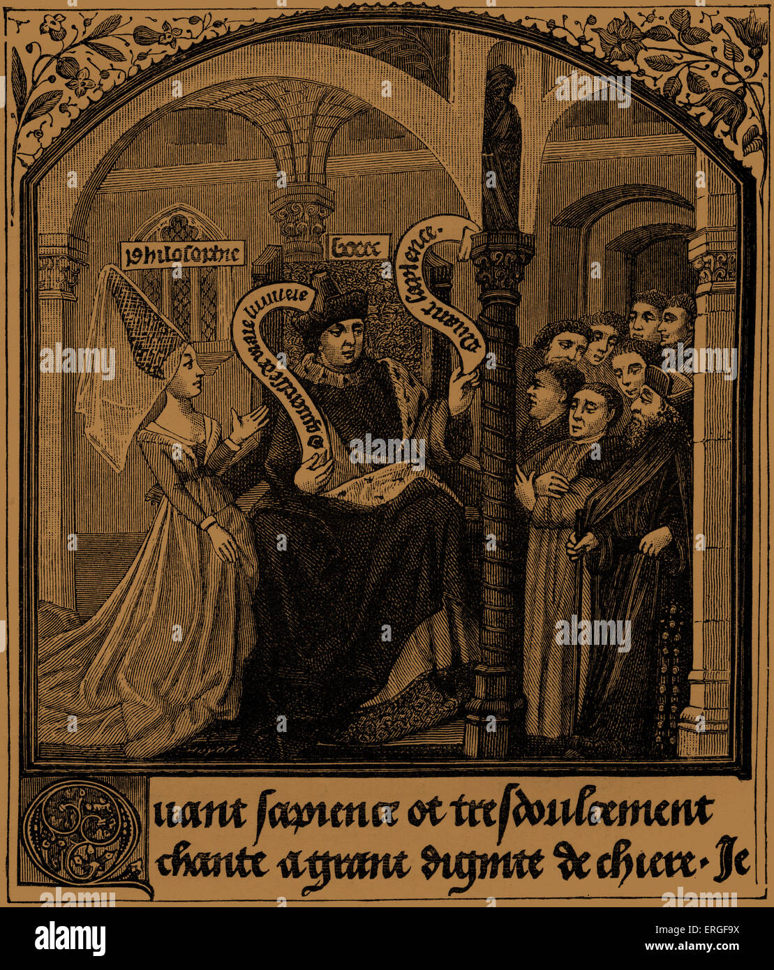 Boethius takes counsel of Dame Philosophy. Allegory, from miniature of 'Consolation of Boethius', translated - Stock Image