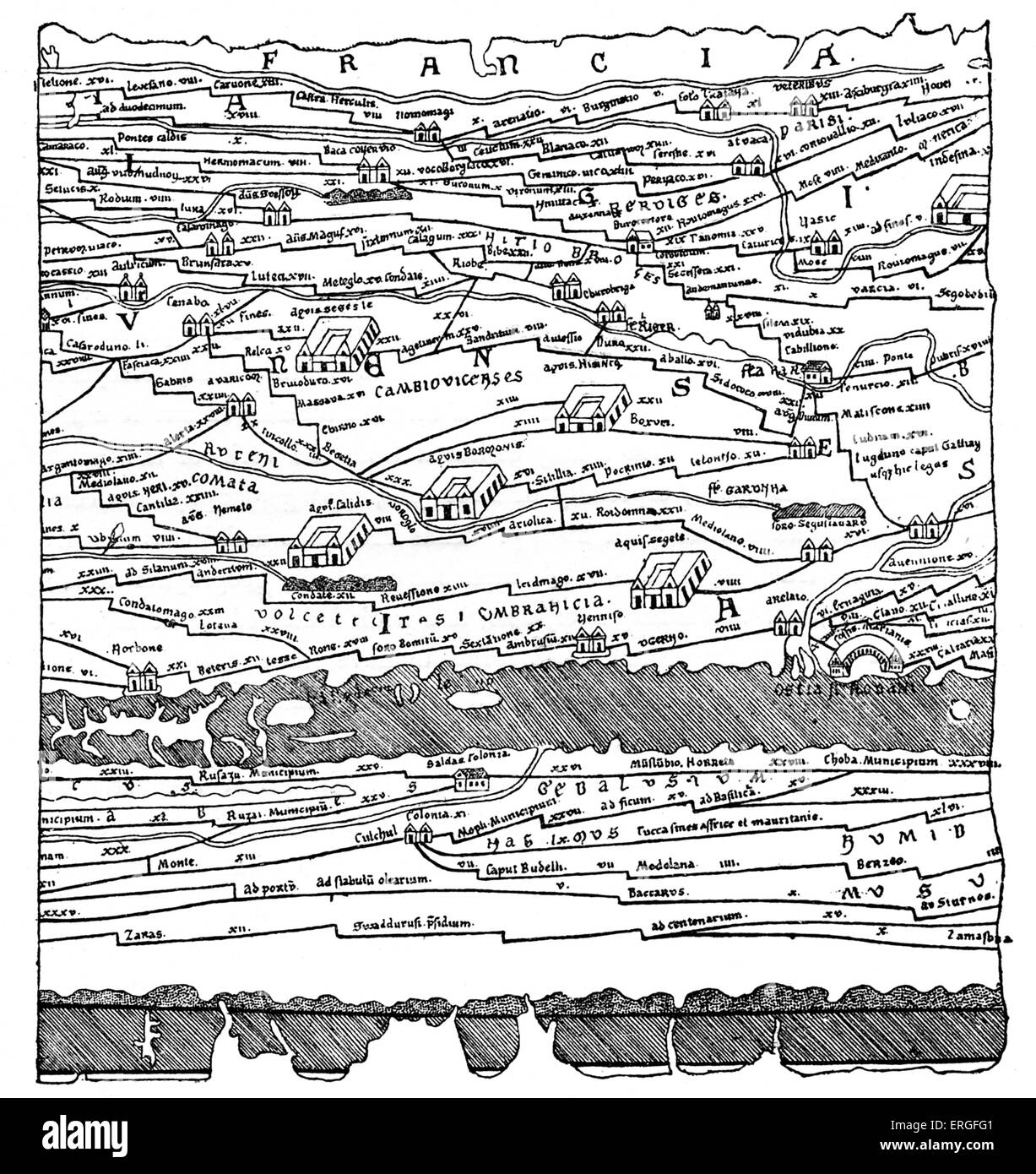 Map of Gaul - fragment. From reduced fac-simile of Pentinger's map in 13th century manuscript. (Imperial Library, - Stock Image