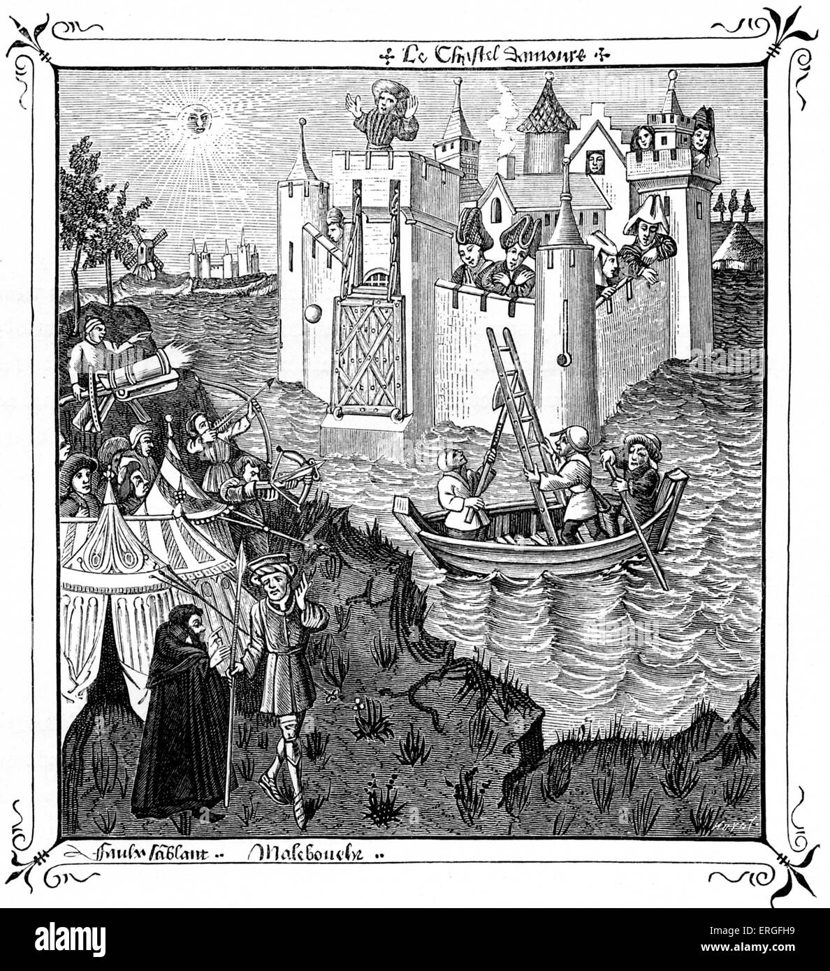 'The Castles of Loves' - from  miniature in 'Champion des Dames', 15th century manuscript. - Stock Image