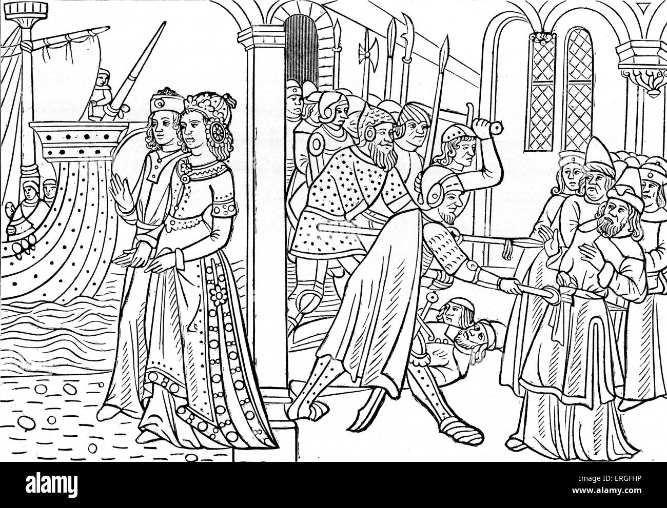 'The Abduction of Helen' (of Troy) - from reproduction of a wood engraving in 'Istoire de la Destruction - Stock Image