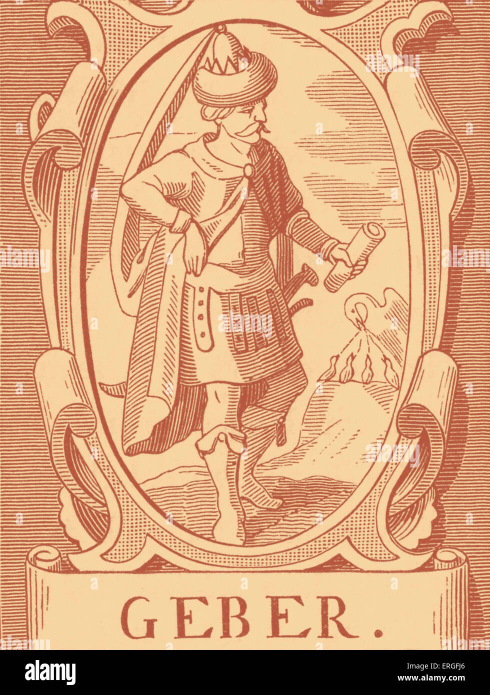 The Alchemist Geber - after engraving by Vriese. - Stock Image
