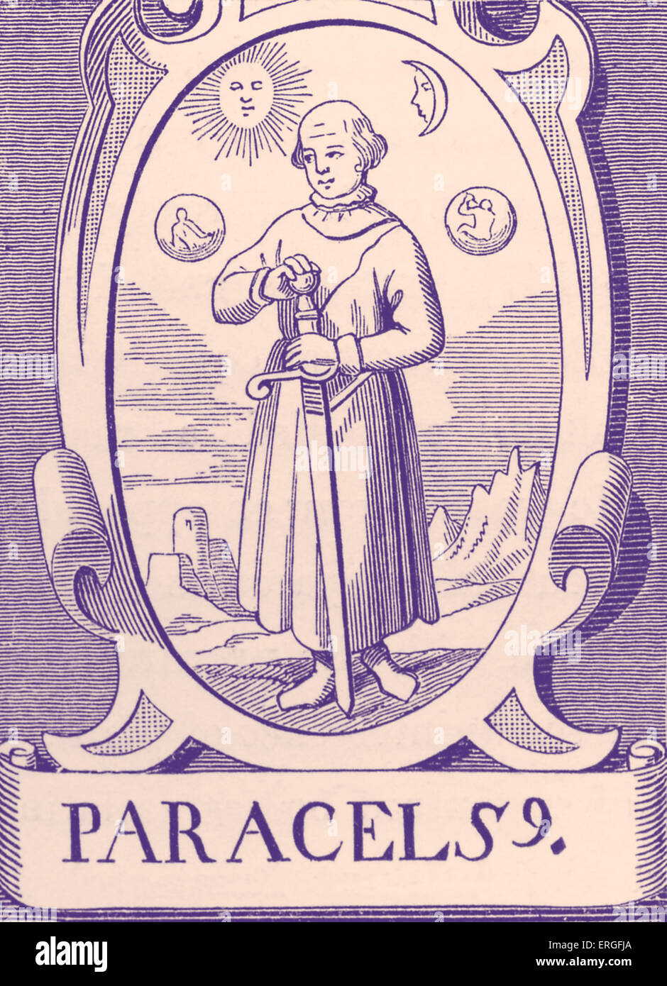 The Alchemist Paraclesus - after engraving by Vriese. - Stock Image