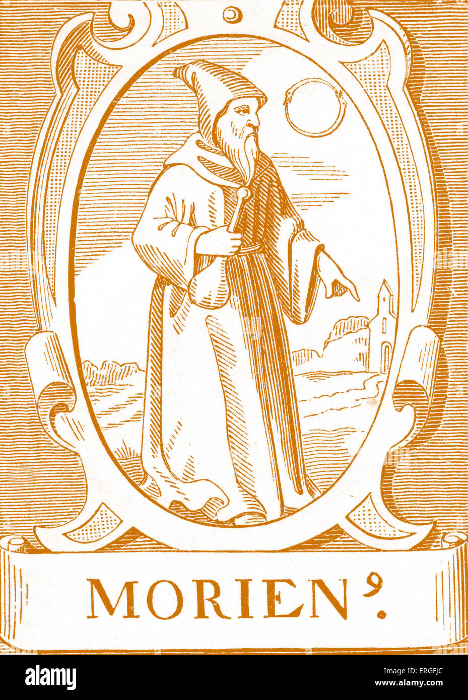 The Alchemist Morenius - after engraving by Vriese. - Stock Image