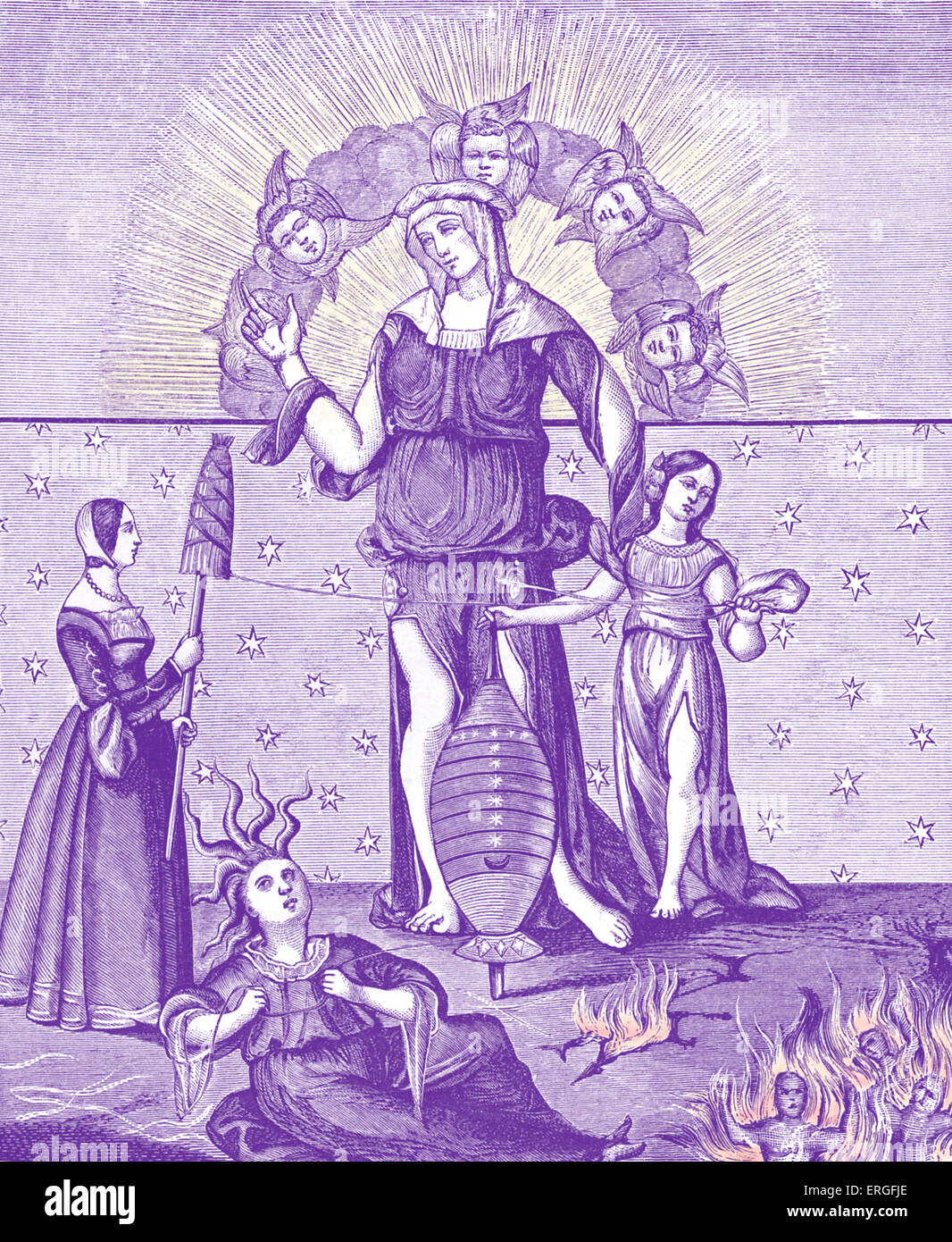 Dame of Astrology with the Three Fates. After miniature in 'Traité de la Cabale Chrétienne' by - Stock Image