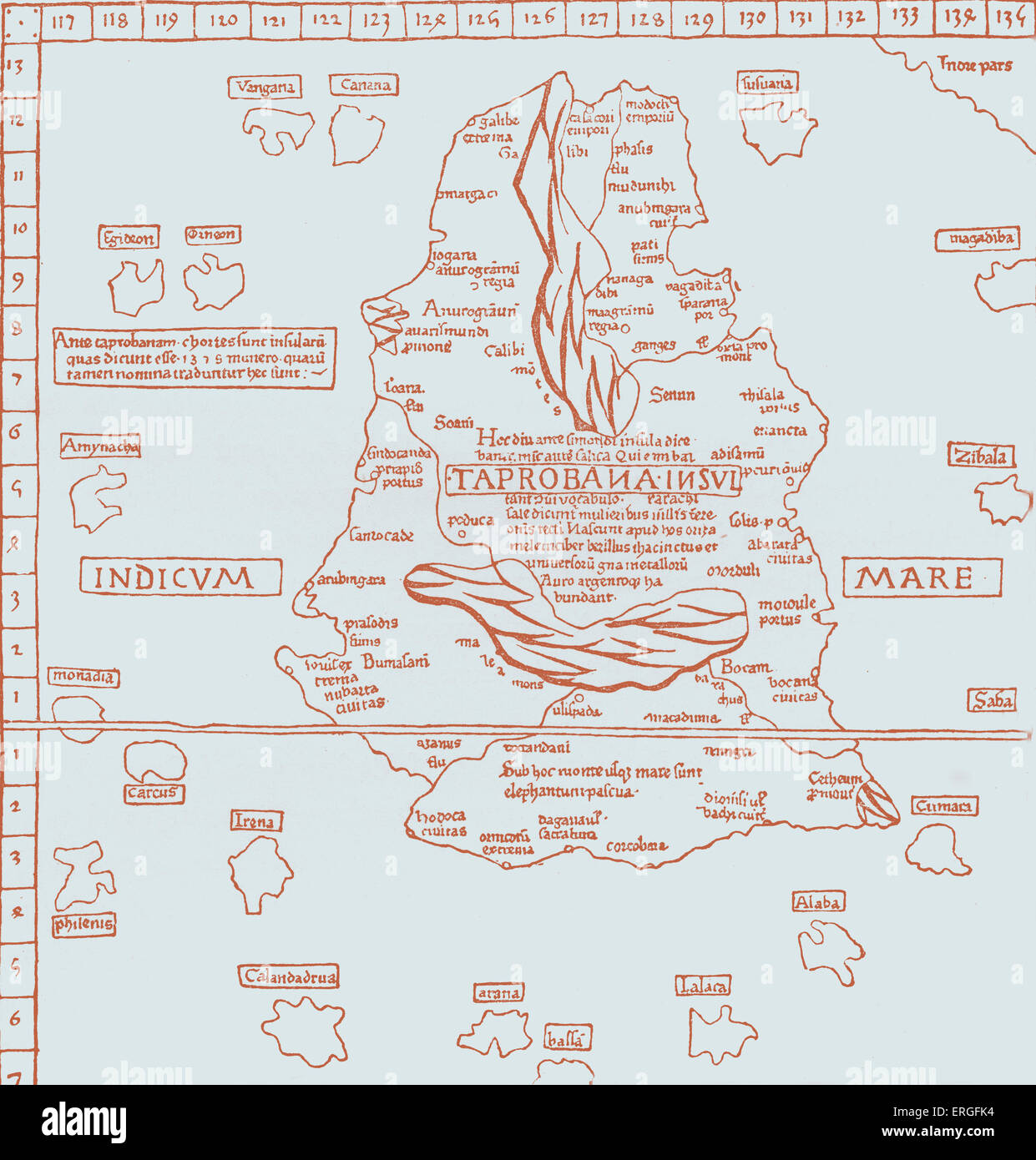 'Map of the Island of Taprobana' - from reduced fac-simile of map in Ptolemy's Georgraphy, Latin edition, - Stock Image