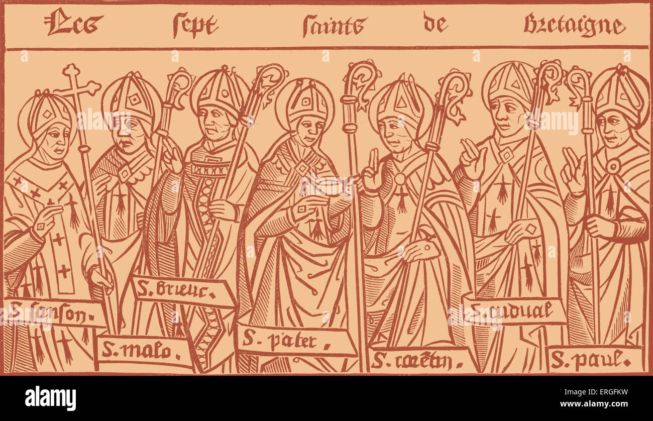 The Seven Saints of Brittany - from reproduction of wood engraving in 'Chroniques de Bretagne' by Alain - Stock Image