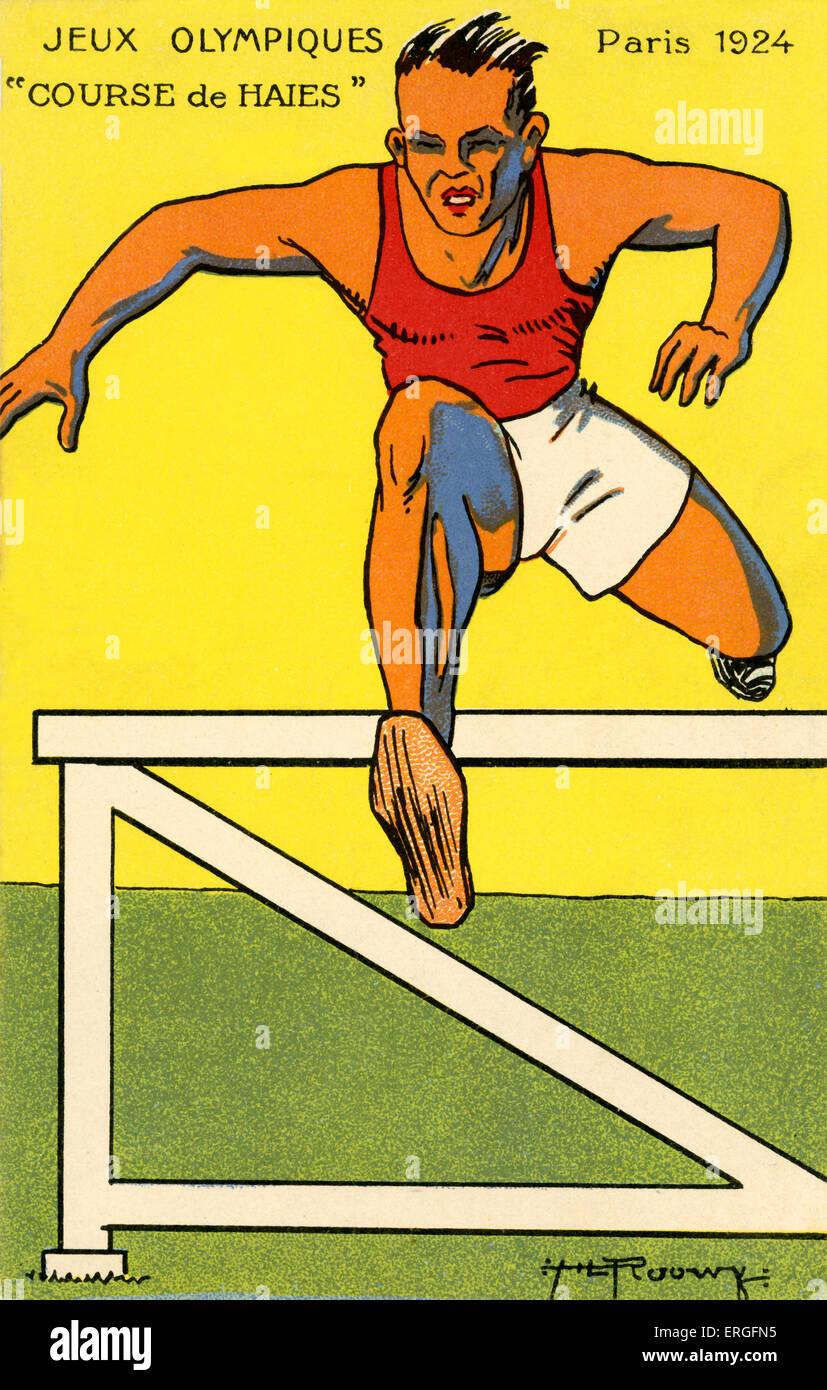 Olympics   1924 Paris France.  Hurdle race. Jeux Olympiques - Stock Image