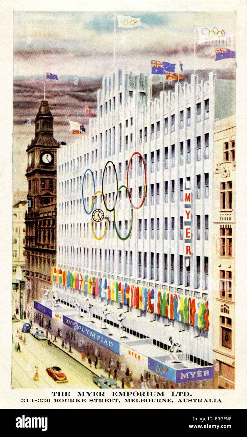 Olympics   1956 Melbourne Australia. Myer Emporium with Olympic symbol of interlinking rings in front of the department - Stock Image