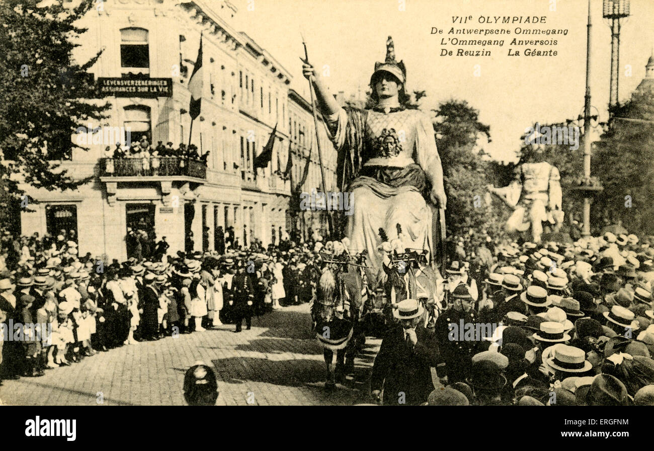 VII Olympics Parade 1920 Antwerp, Belgium. Parade. - Stock Image