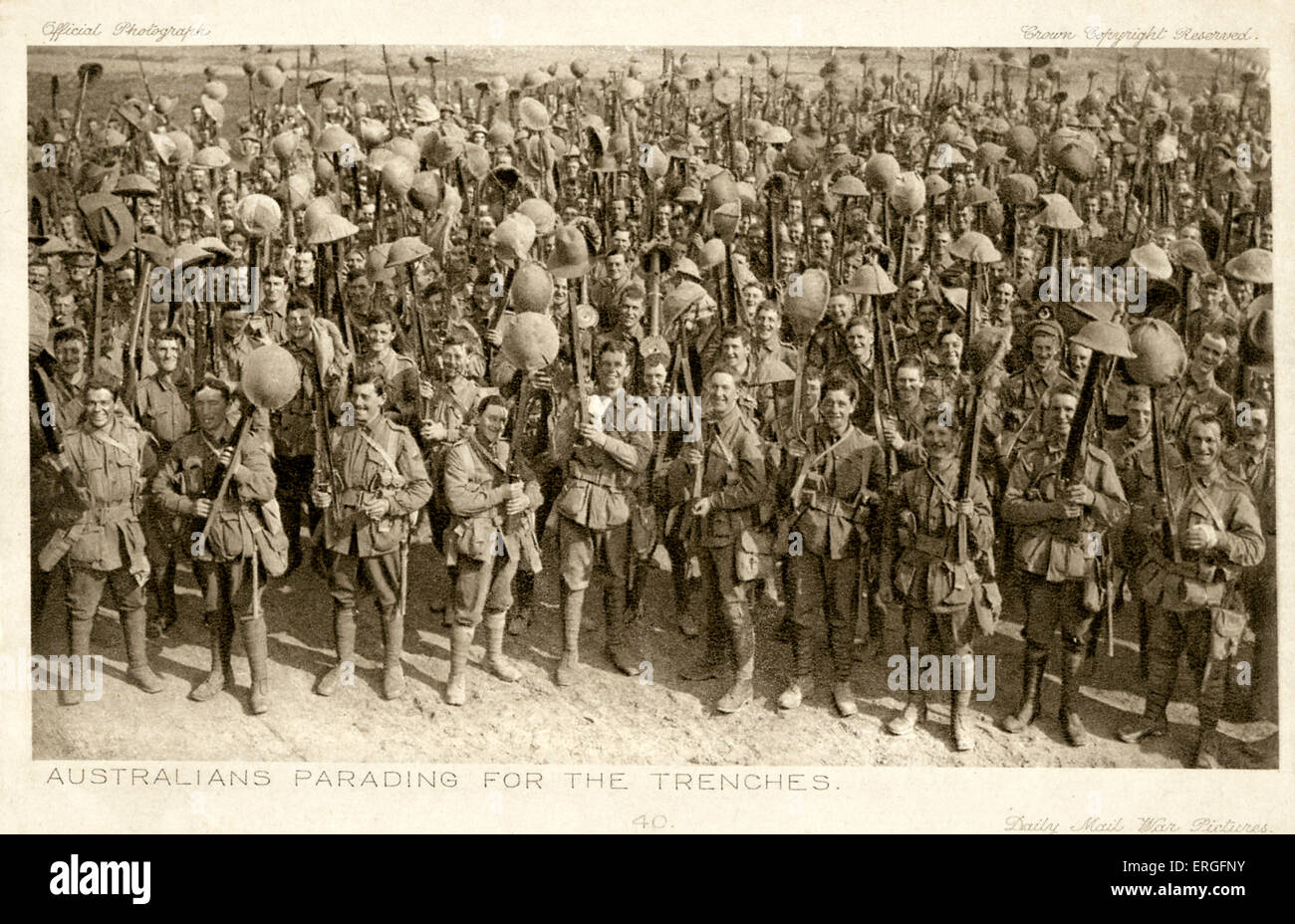 Parade of Australian soldiers at the trenches on the Western Front, following capture of Pozières on 23 July 1916. Stock Photo