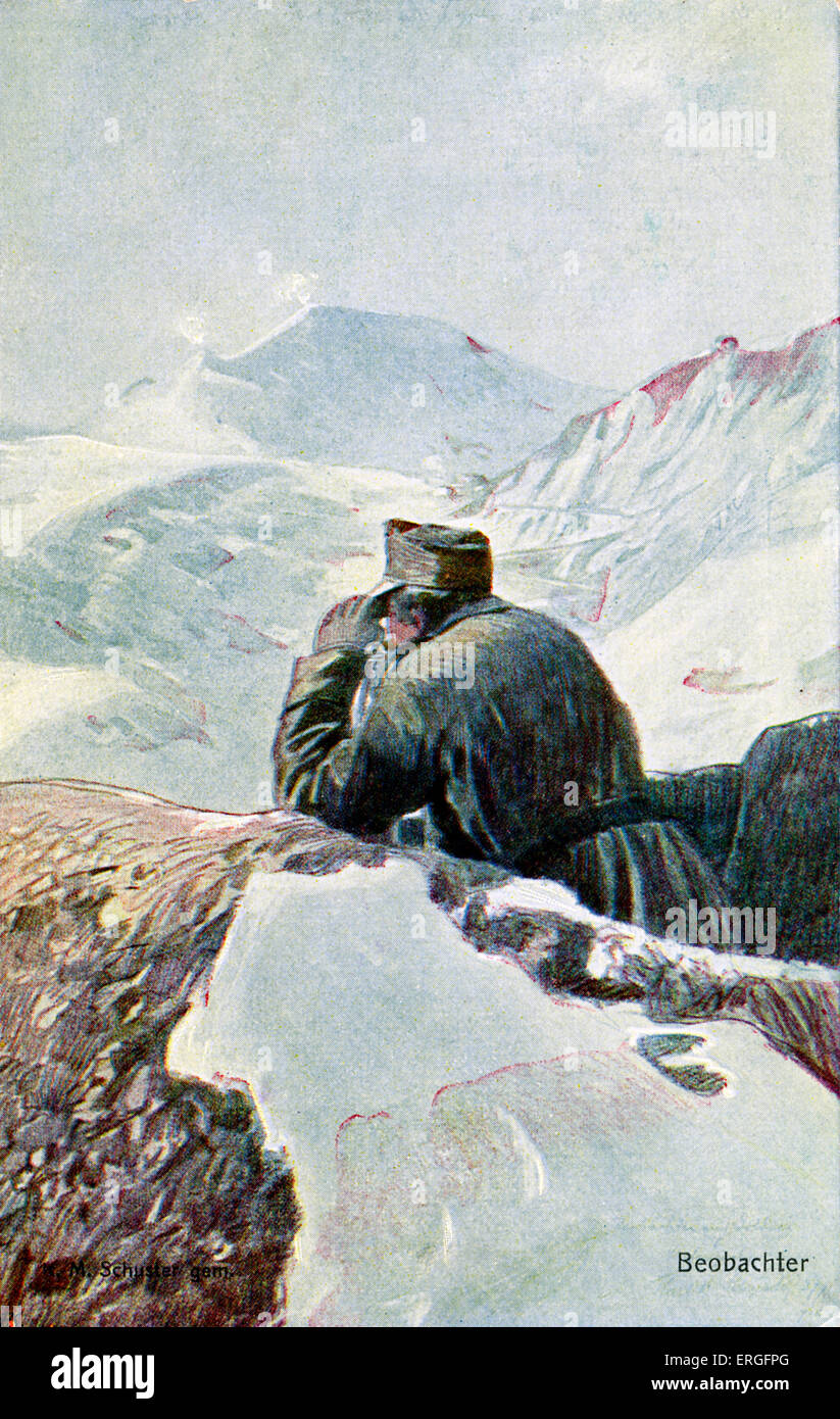 German observer  in the snow, during World War I. Post card of German Red Cross '  'Kriegsfürsorgeamt'. - Stock Image
