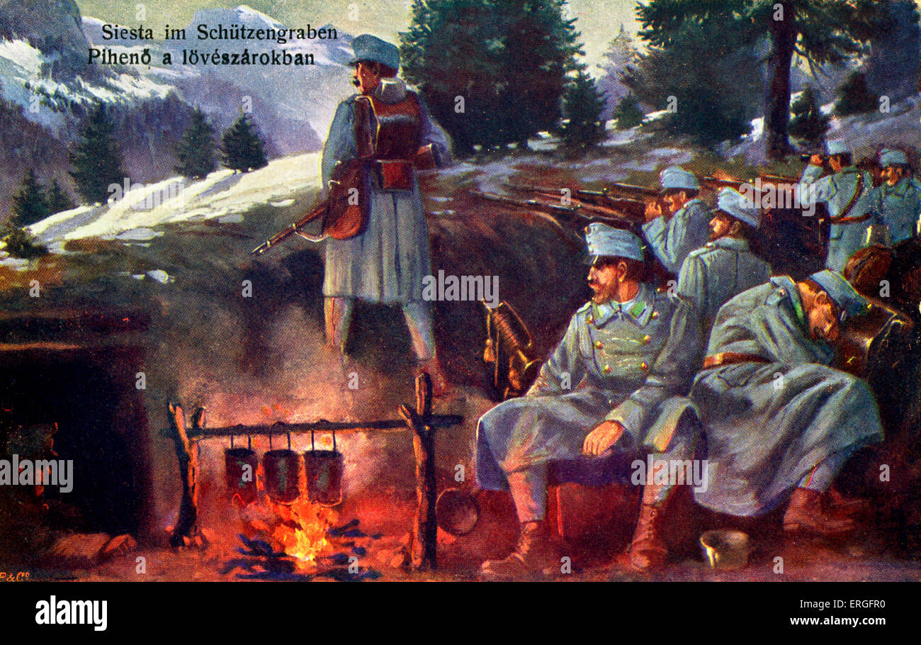 Fire Trench Stock Photos Images Alamy Diagram Ww1 Siesta In A 1915 During World War 1 German