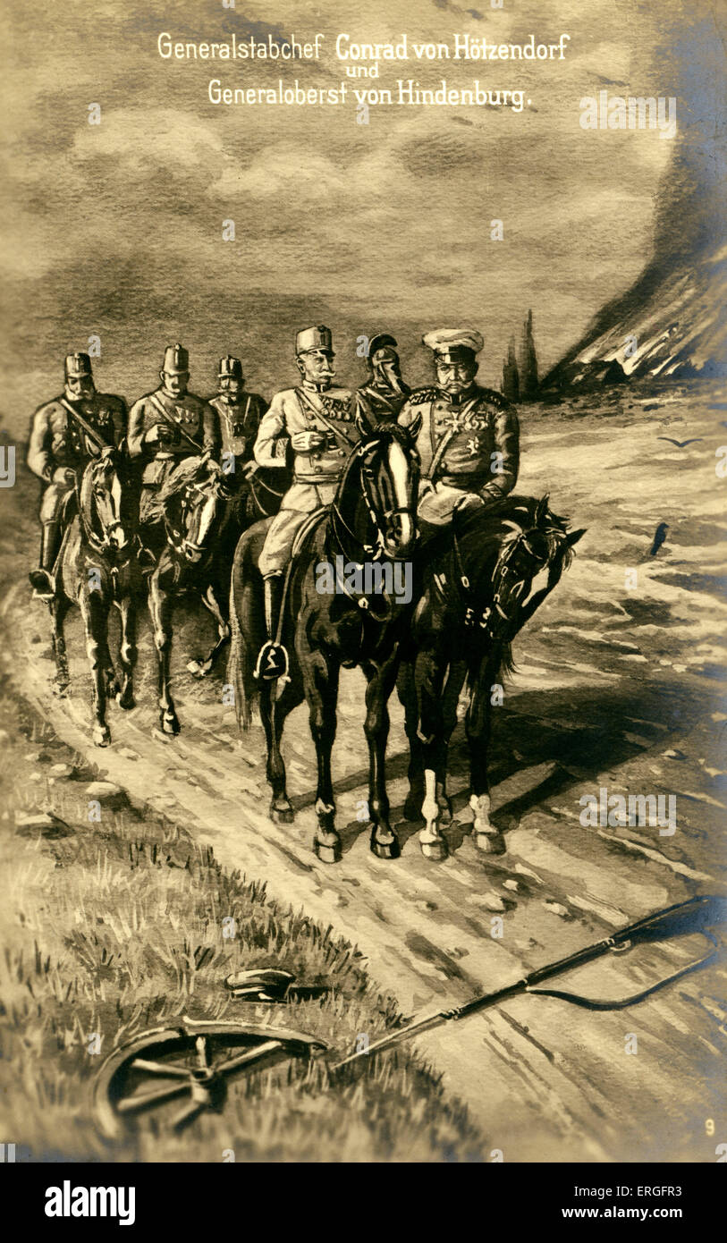 Franz Conrad von Hötzendorf and Paul von Hindenburg during World War I. FCH: Austrian soldier and Chief of - Stock Image