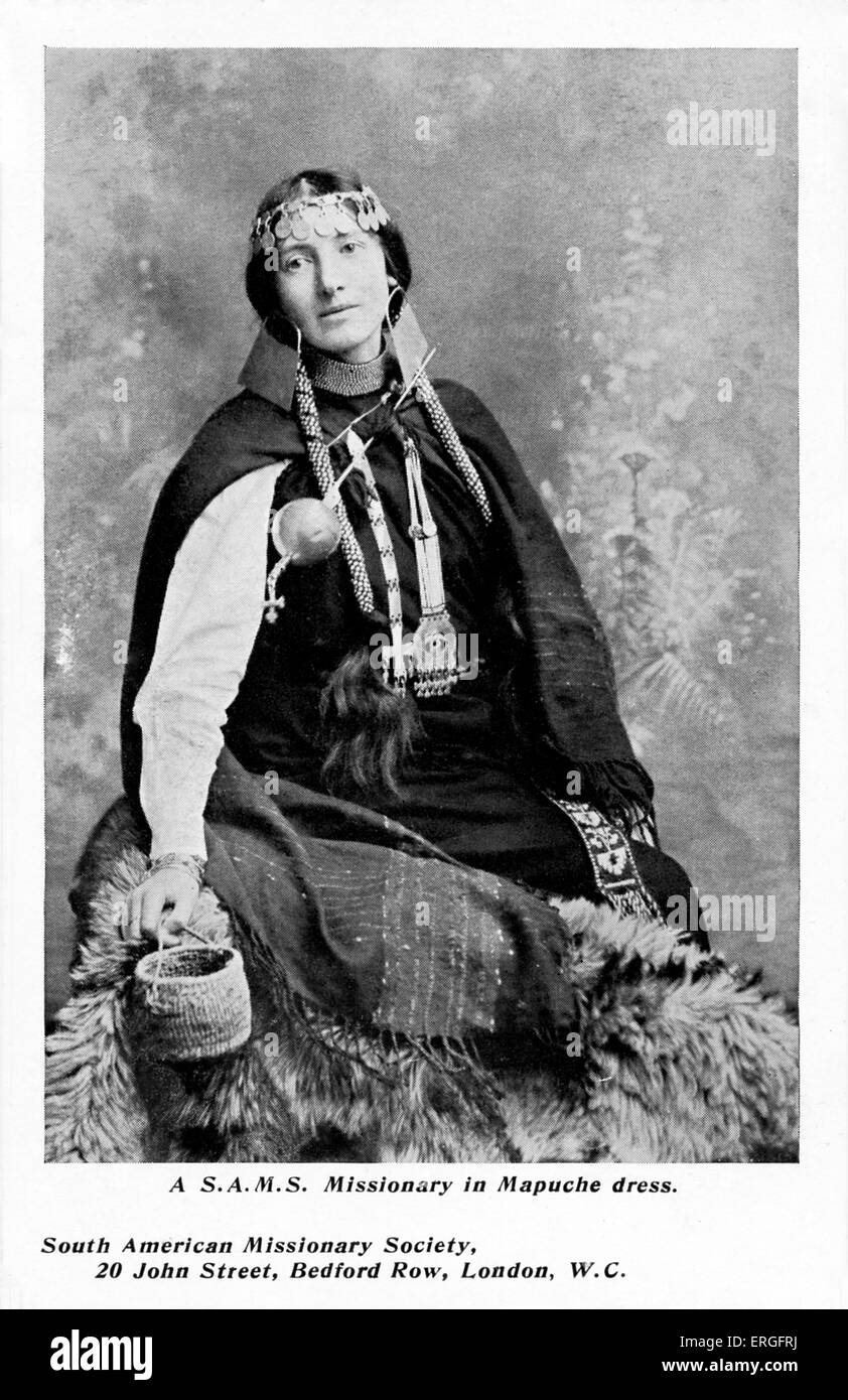 South American Missionary Society Missionary- wearing traditional Mapuche dress. Early 20th century.  Mapuche,  - Stock Image