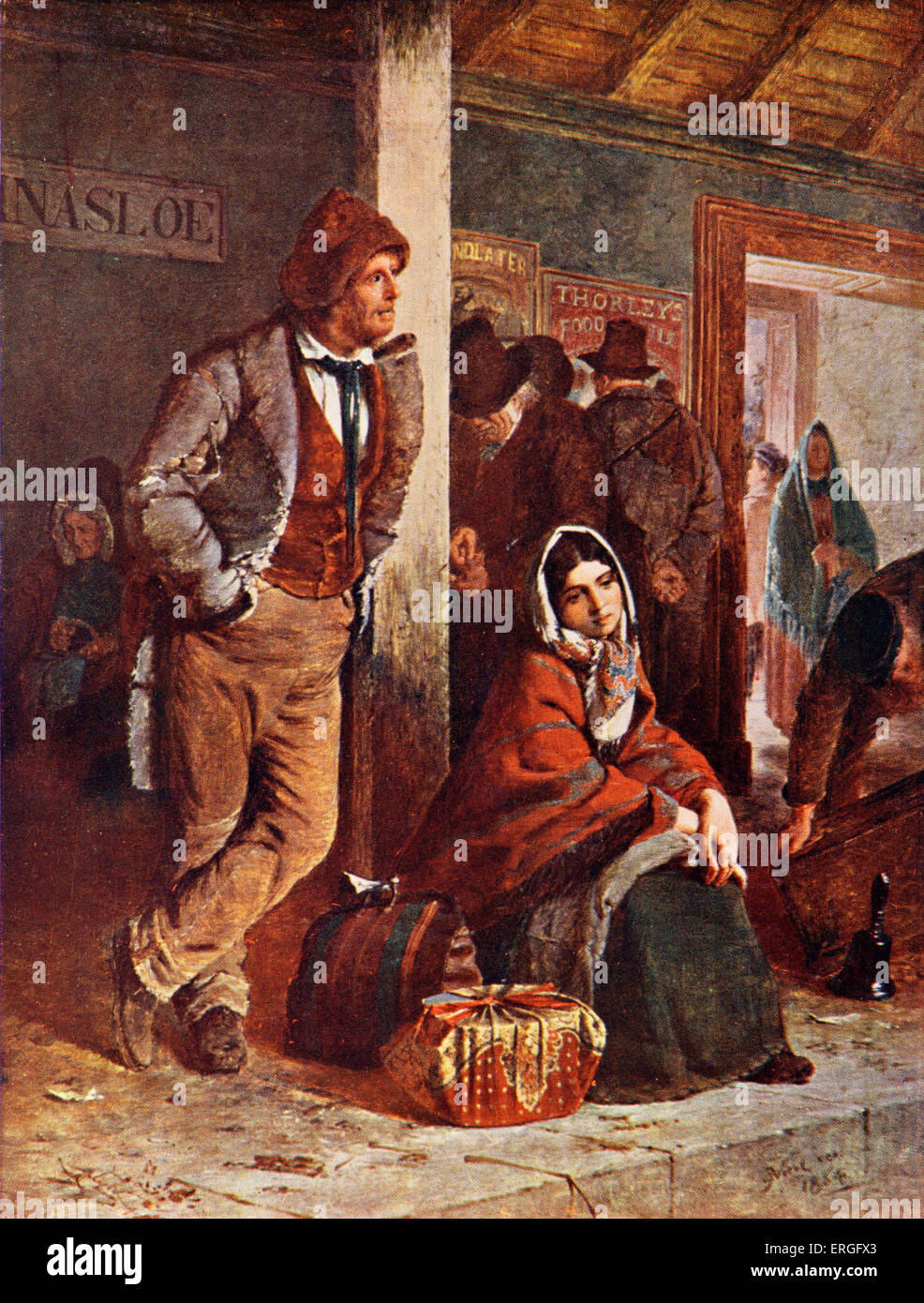 The Emigrants - from painting by Erskine Nicol. - Stock Image