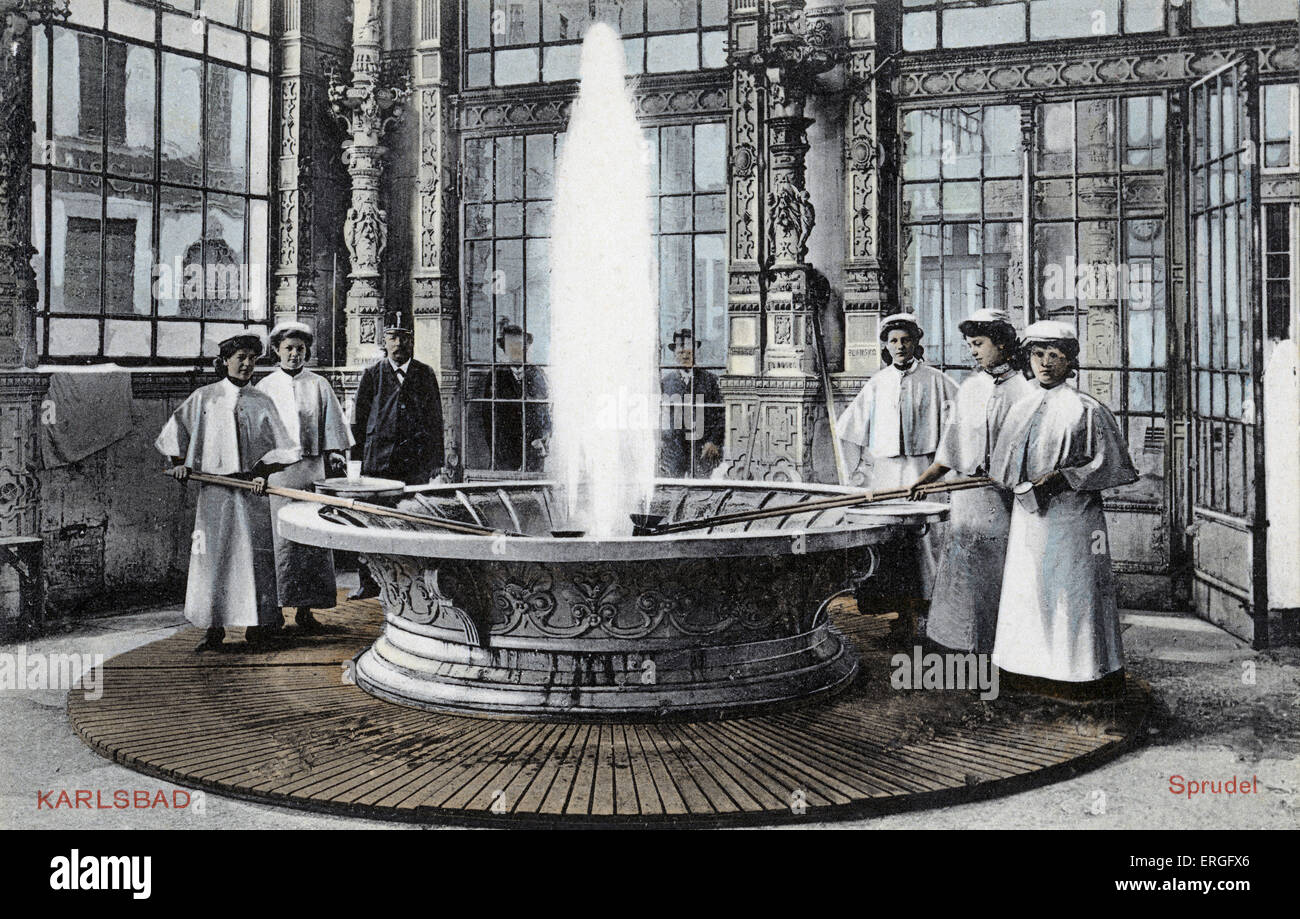Carlsbad - spa fountain, c. 1910.  Bohemia, Austro- Hungary (modern day Czech Republic). Known as Karlovy Vary in - Stock Image