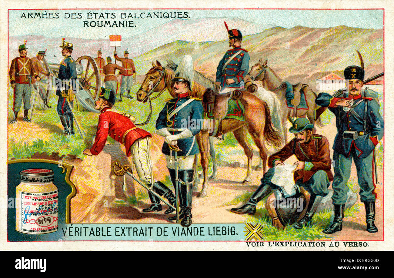 Armies of the Balkan States: Romania. 1910. (French: Armées des États balcaniques: Roumanie). Liebig Extract - Stock Image