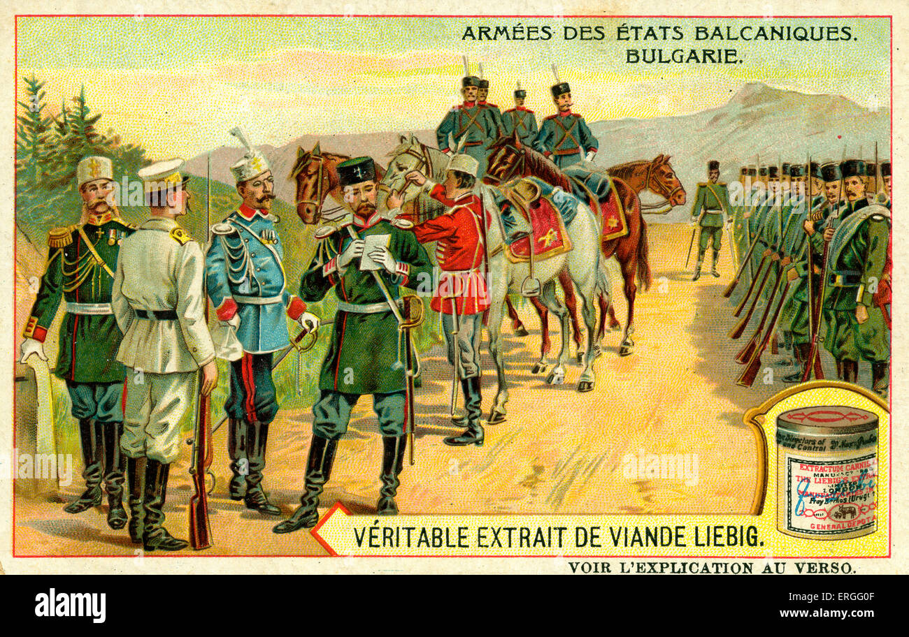 Armies of the Balkan States: Bulgaria. 1910. (French: Armées des États balcaniques: Bulgarie). Liebig - Stock Image