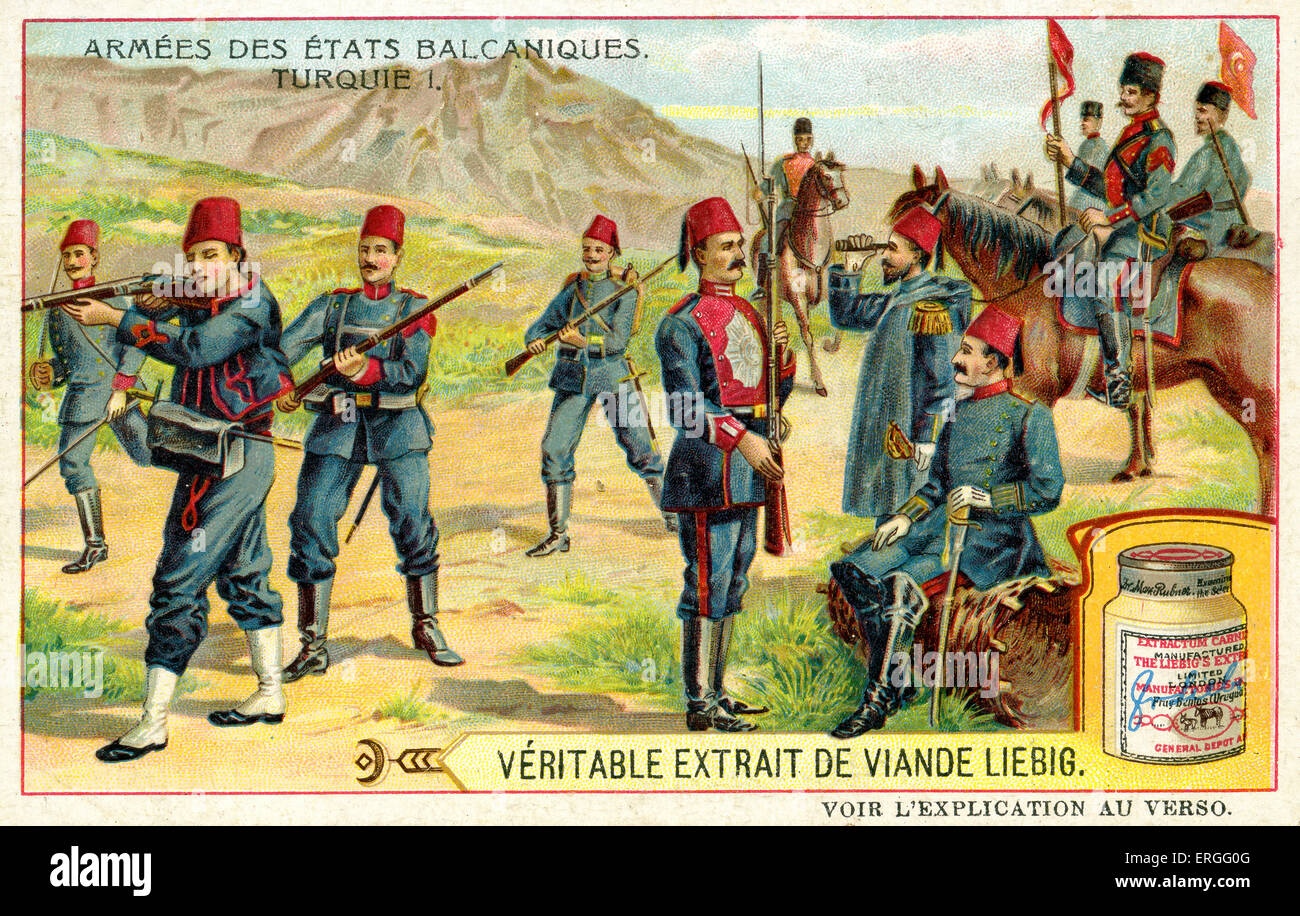 Armies of the Balkan States:  Turkey (1 of 2). 1910. (French: Armées des États balcaniques: Turquie. Liebig - Stock Image
