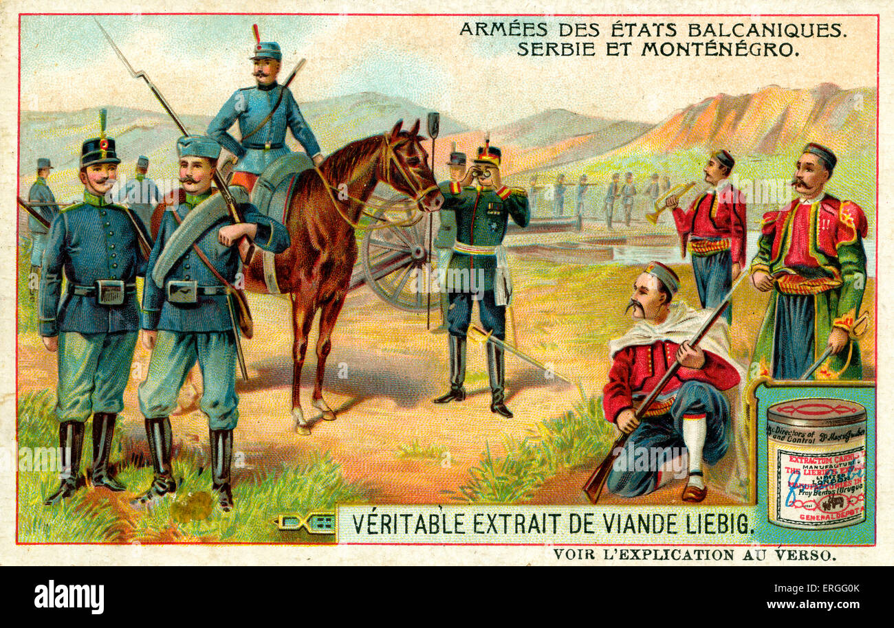 Armies of the Balkan States: Serbia and Montenegro. 1910. (French: Armées des États balcaniques: Serbie - Stock Image