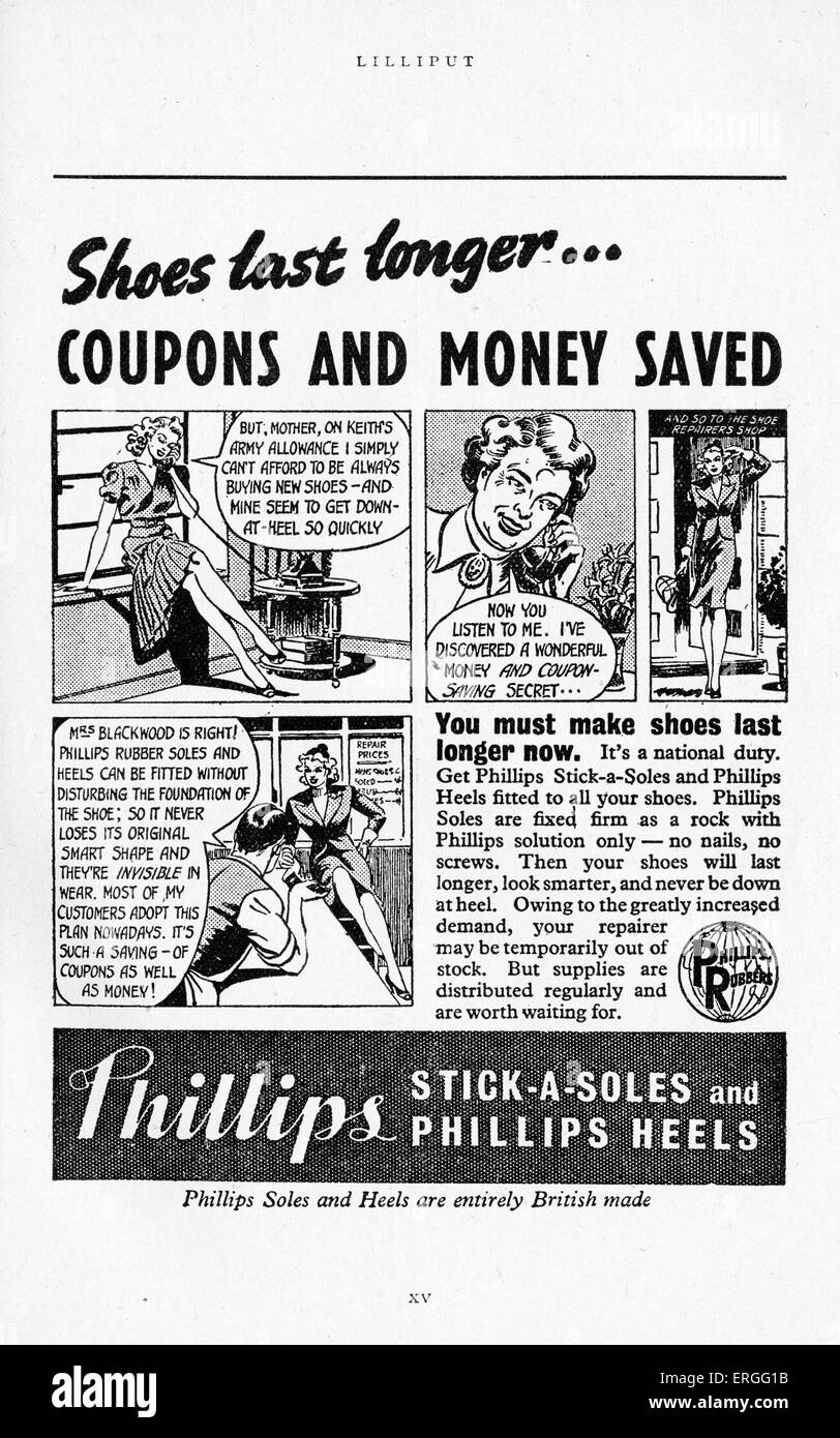 Phillips Soles and Heels World War 2 Advertisement.  Encouraging readers to save money and ration coupons. 1942 - Stock Image