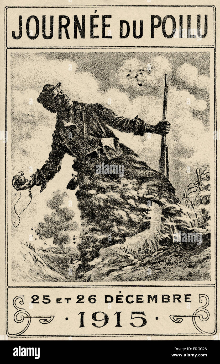 'Journée du Poilu': French soldier 's Christmas at the Front, 25 - 26 December 1915. Poilu,  informal term for a French World Stock Photo