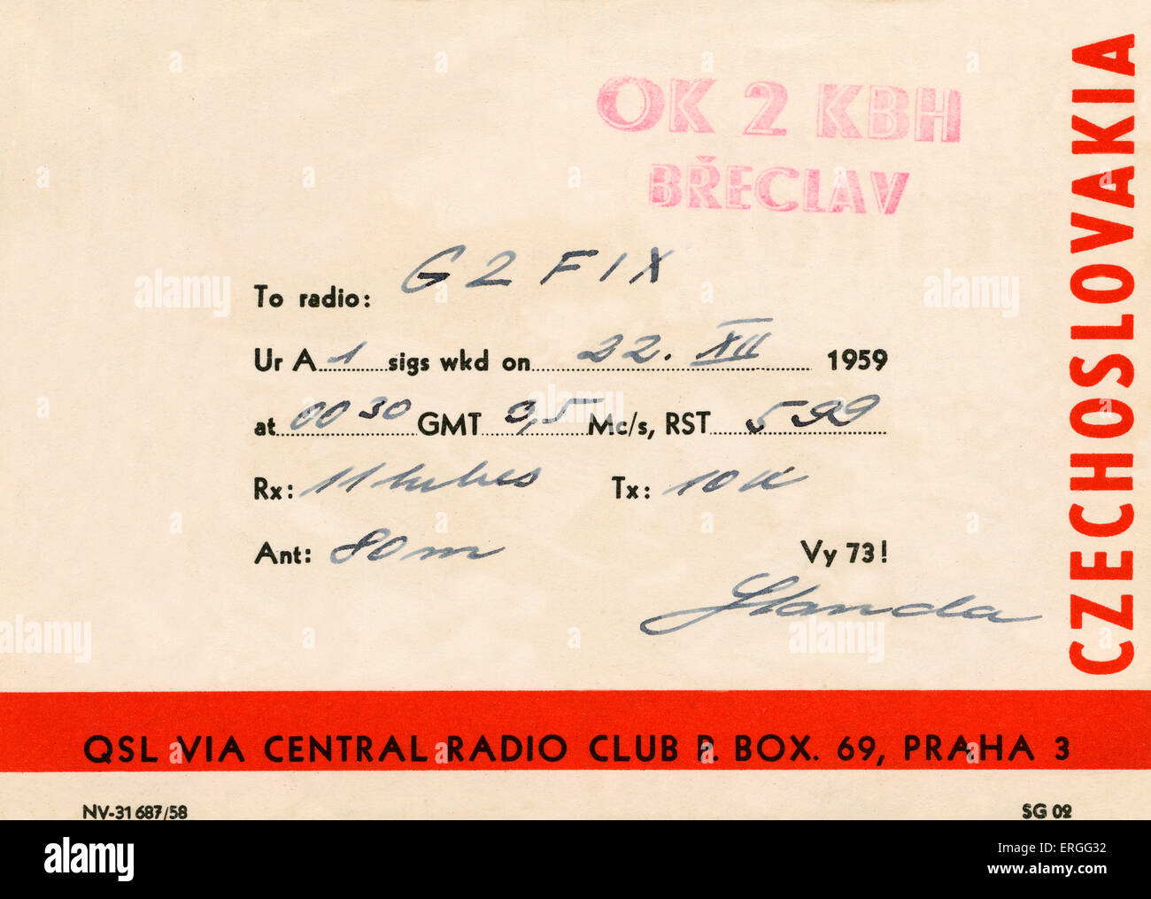 Amateur radio reception card, completed on 11 December 1959. Sent to Central Radio Club, Prague, Czechoslovakia - Stock Image