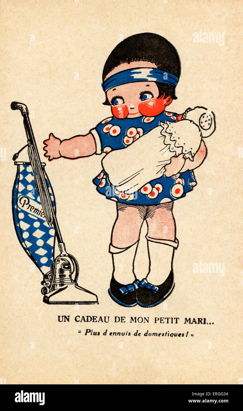 Premier vacuum cleaners - advertisement.  Caption: 'Un cadeau de mon petit mari: 'Plus d'ennuis de domestiques!' - Stock Image