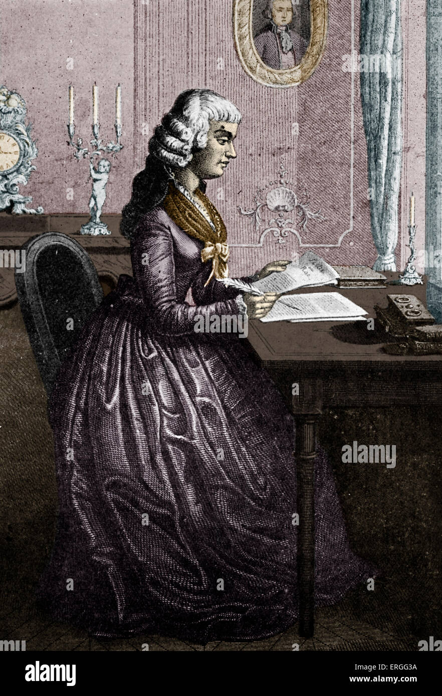 Madame Roland writing a letter to Louis XVI of France. Supporter of the French Revolution and influential member - Stock Image