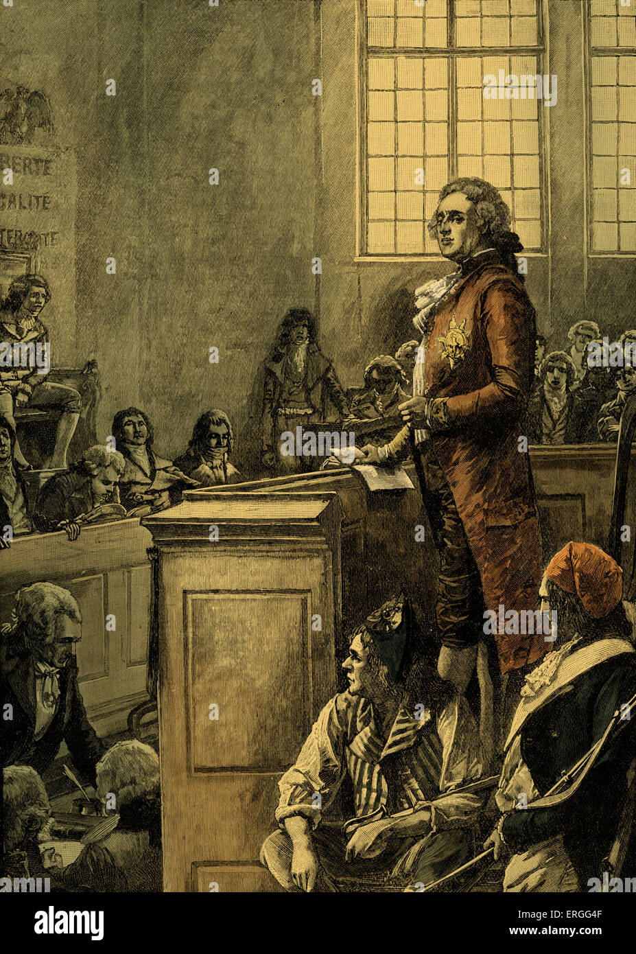 Trial of Louis XVI, King of France, 1793. Found guilty of conspiracy against the liberty and safety of the State - Stock Image