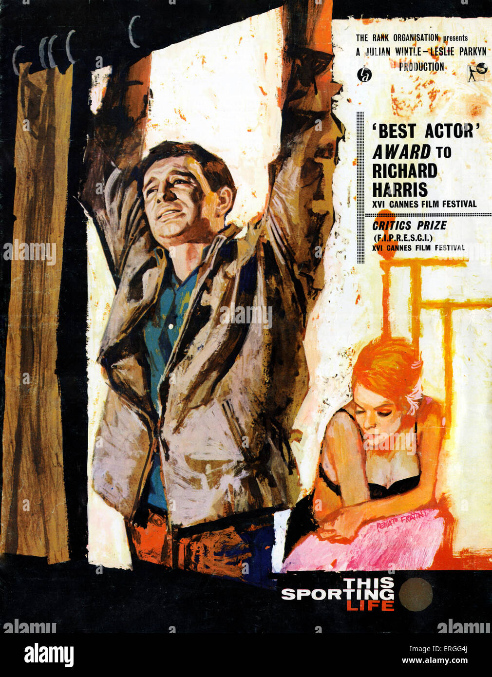 This Sporting Life -  film poster. 1963 film directed by Lindsay Anderson. Richard Harris as Frank Machin and Rachel - Stock Image