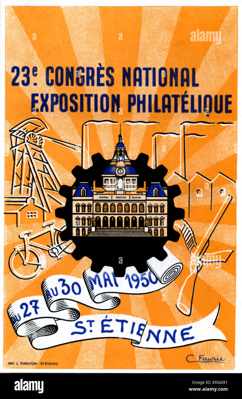 23rd French National Congress Philatelic Exhibition, 27 - 30 May 1950, St Etienne, France. Philately, study of stamps - Stock Image