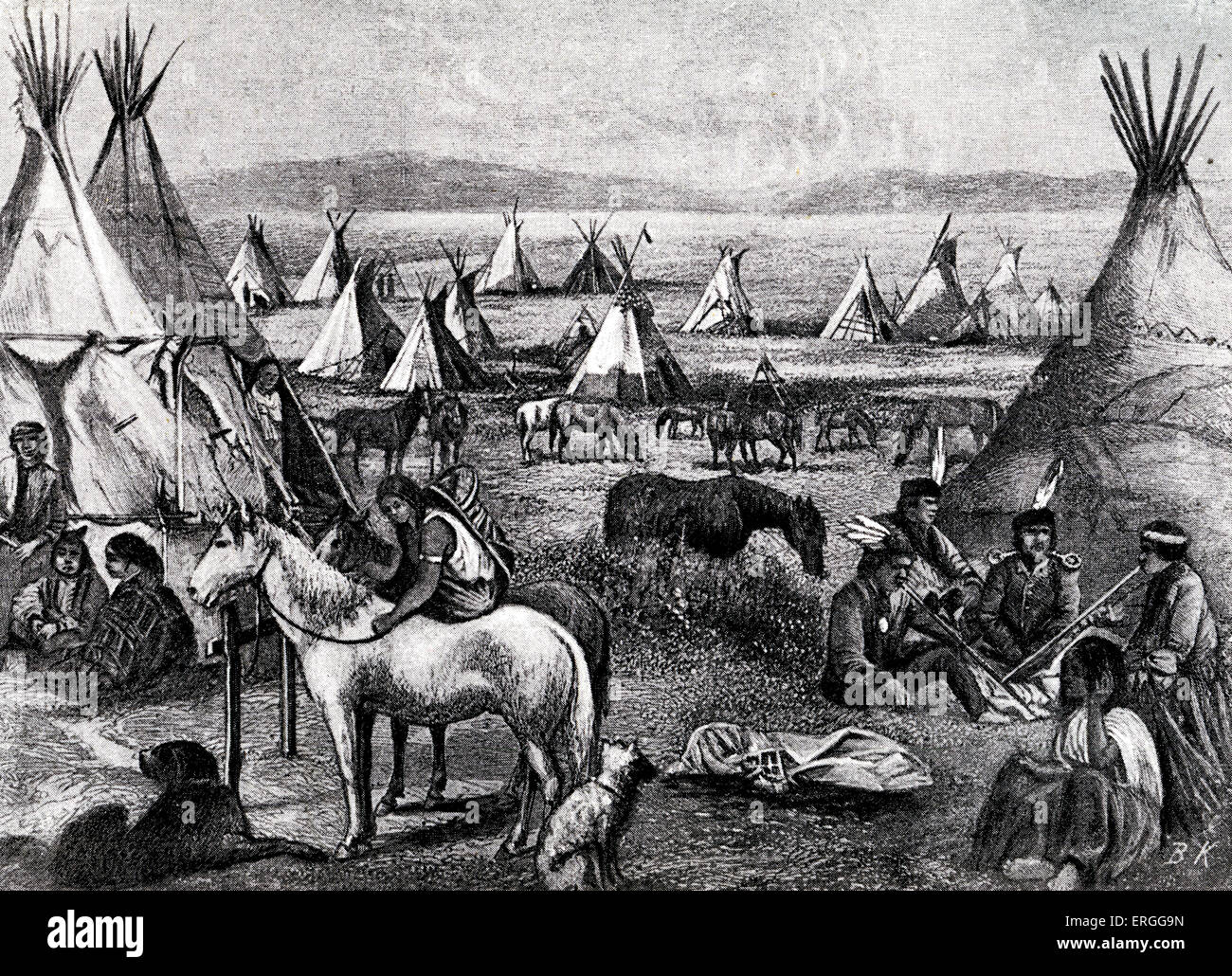 Navajo Indians specifically 'Parushapats' encamped on the plains of Arizona c. 1880s.  Illustration by Bohuslav - Stock Image