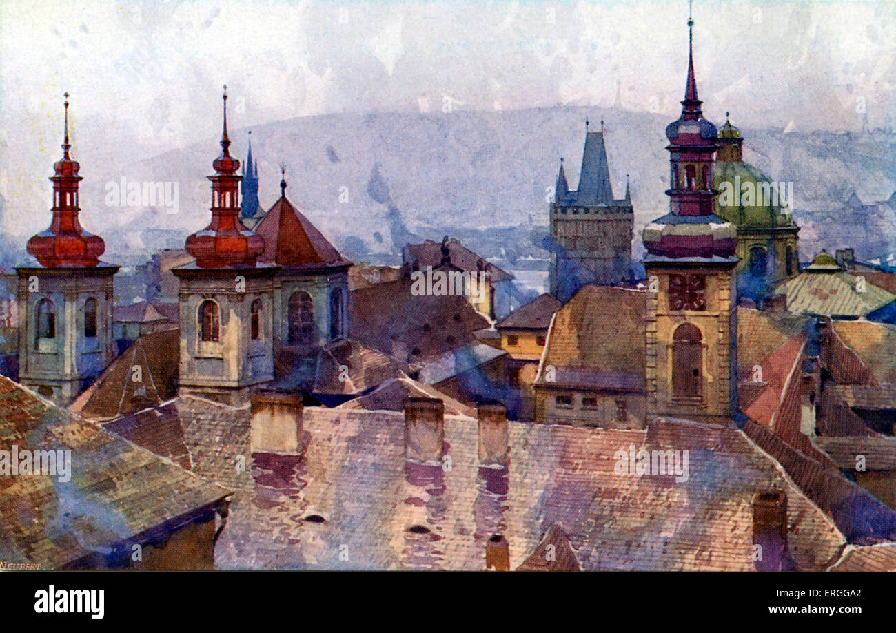 Old Town (Staré Mesto), Prague. Early 20th century postcard. Modern - day Czech Republic. - Stock Image