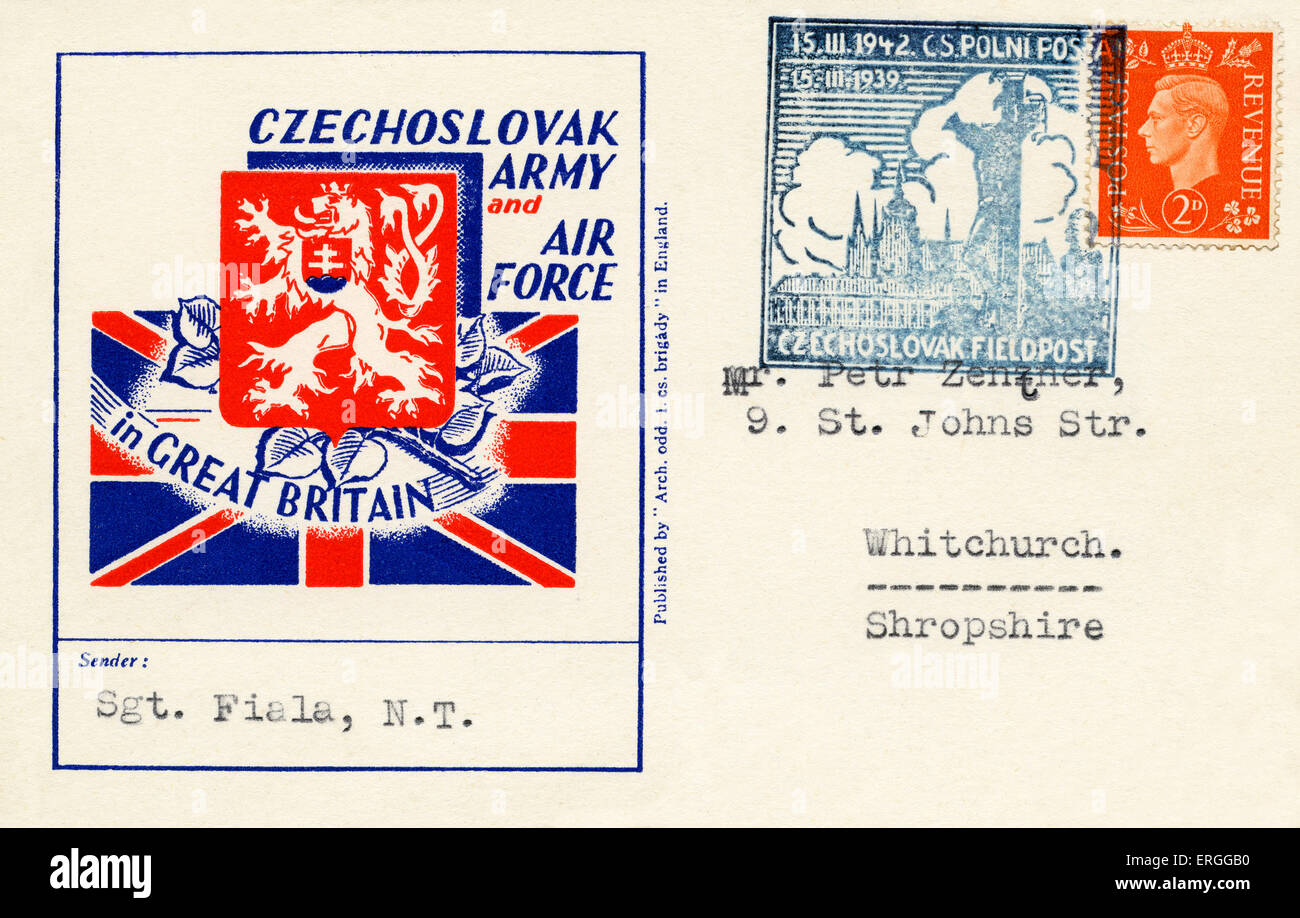 Czechoslovak Army and Air Frorce in Great Britain - postcard sent 15 March 1939 by Czechoslovak Fieldpost. - Stock Image