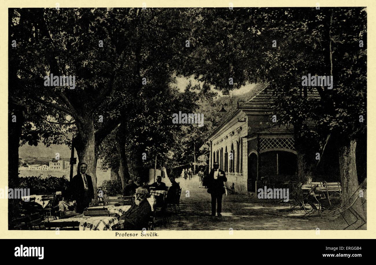Písek, c. 1931. Town in Bohemian region of modern day Czech Republic. Showing Professor Sevcik. - Stock Image