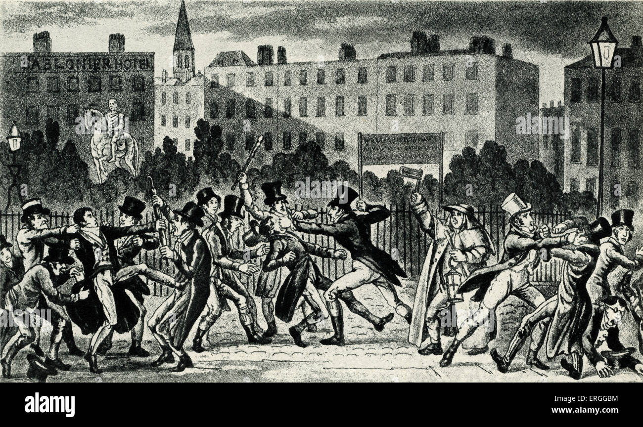 'Street Fight' - from aquatint by G. And R. Cruikshank, 1821. - Stock Image