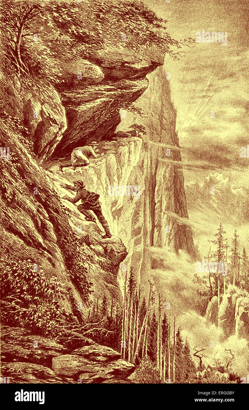 Exploring the mountains in the Sierras of America. Illustration by Bohuslav Kroupa (1838 - 1912) Caption reads: - Stock Image
