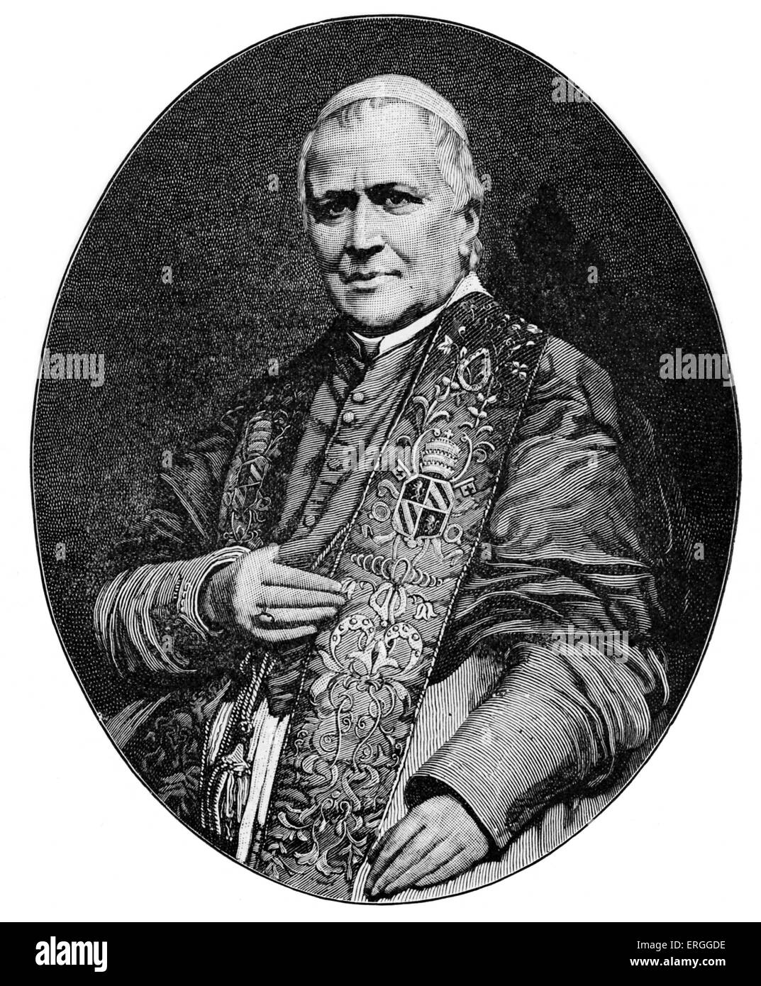 Pope Pius IX - portrait after photograph by Pierre Petit. Served  from 16 June 1846 until his death. Born Giovanni - Stock Image