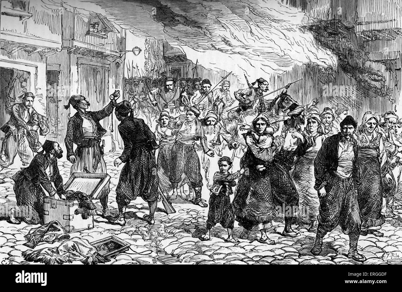 Ottoman massacre of Bulgarian town of Batak in 1876. Beginning of April Uprising. Attacked due to declaration of - Stock Image