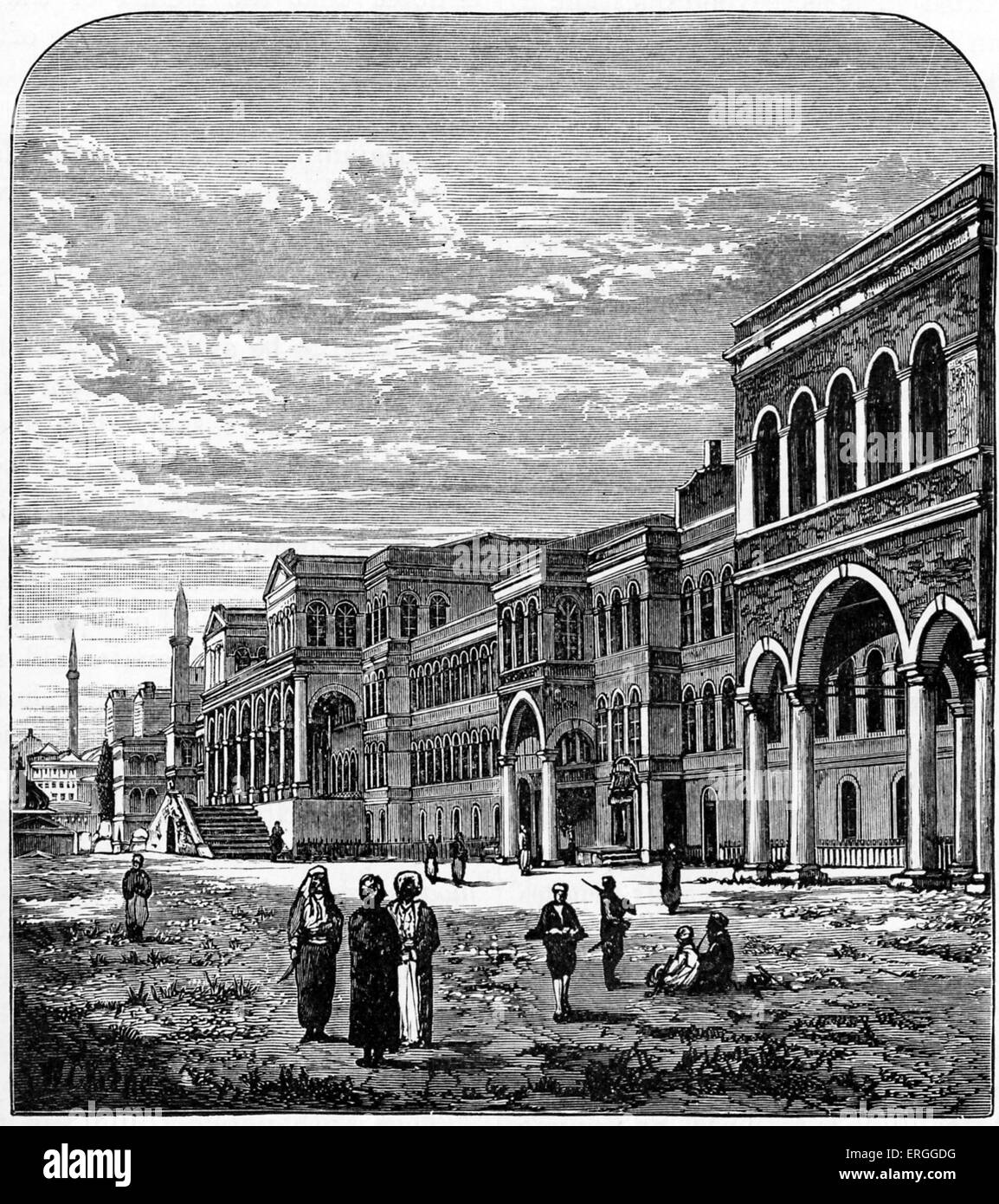 Ottoman Porte, Istanbul (Constantinople)  1876. Name for central government of the Ottoman Empire, referencing High - Stock Image