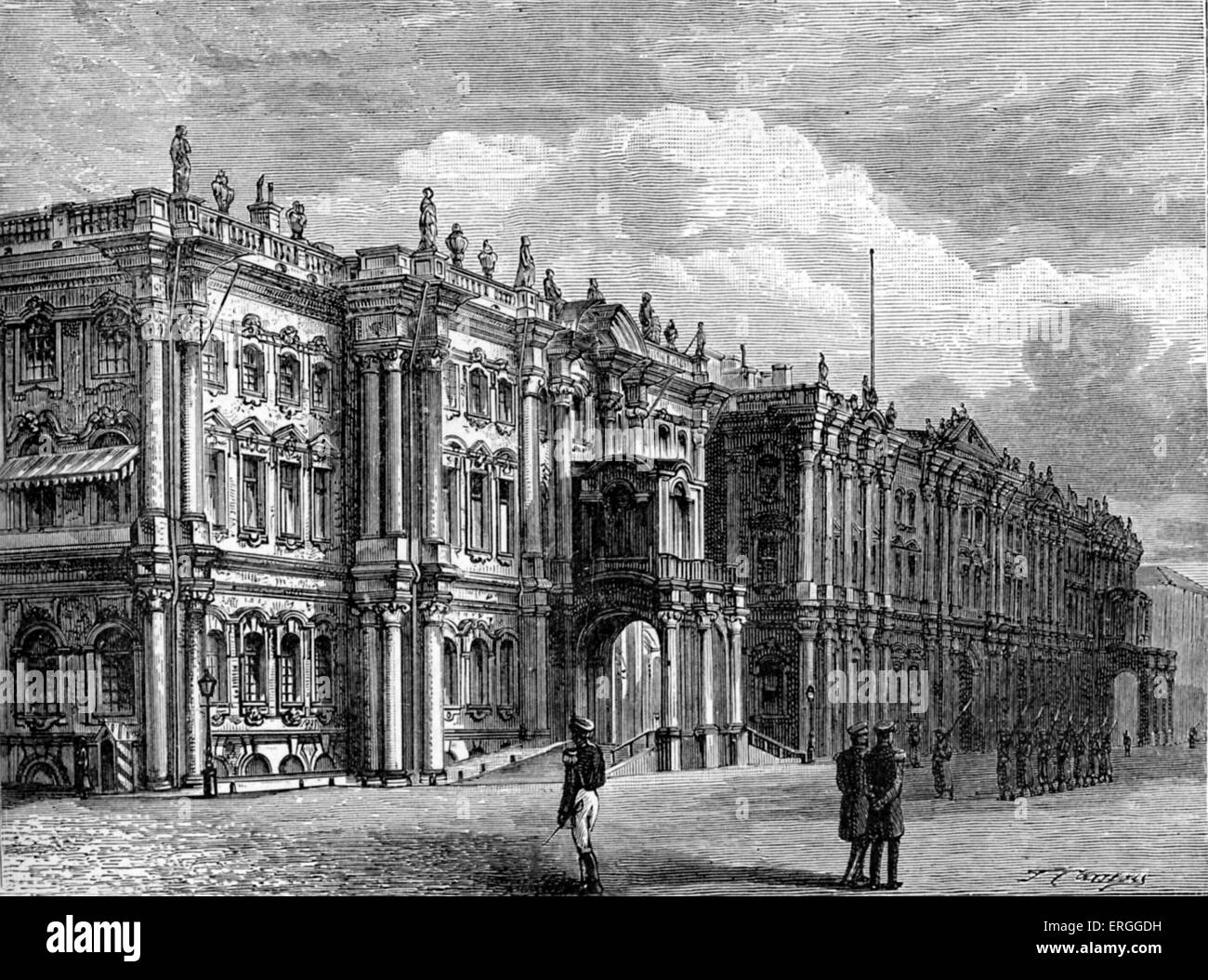 Winter Palace, St Petersburg, Russia. 1877 Constructed 1 754-1762  by architect Bartolomeo Francesco Rastrelli. Stock Photo