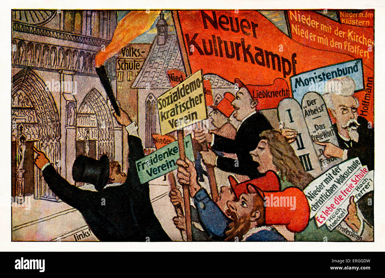 Demonstation of Social Democrats, Cologne (Köln), Germany. Pre - 1914.  Protest against clerical influence - Stock Image