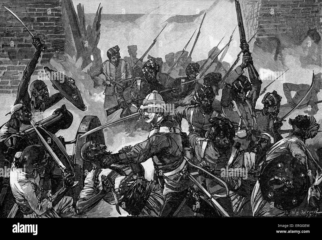 Attack on the British Residency, Kabul during the Second Anglo- Afgan War, 1879.  War between Britain and Afghanistan, - Stock Image