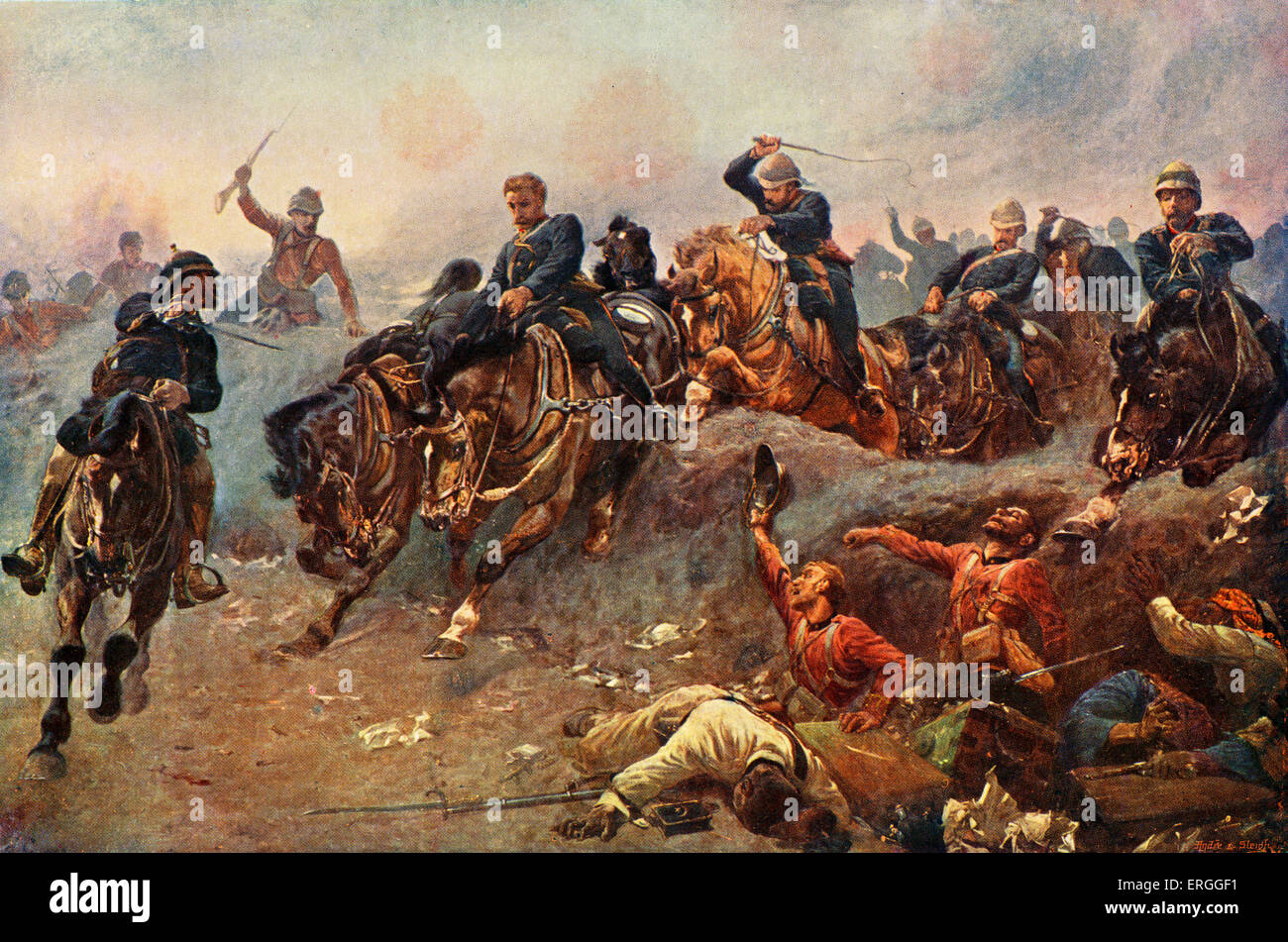 Battle of Tel - el - Kebir, 1882. British Artillery enterting enemy lines. Battle  between the Egyptian army led - Stock Image