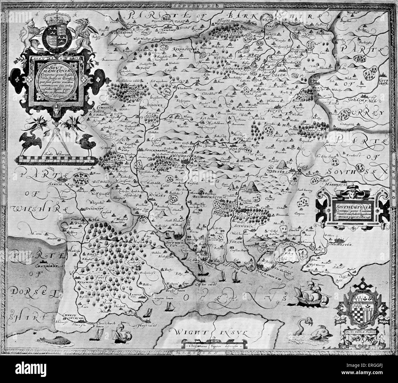 Map of the County of Southampton, England in Christohper Saxton 's 'Atlas of the Counties of England', - Stock Image