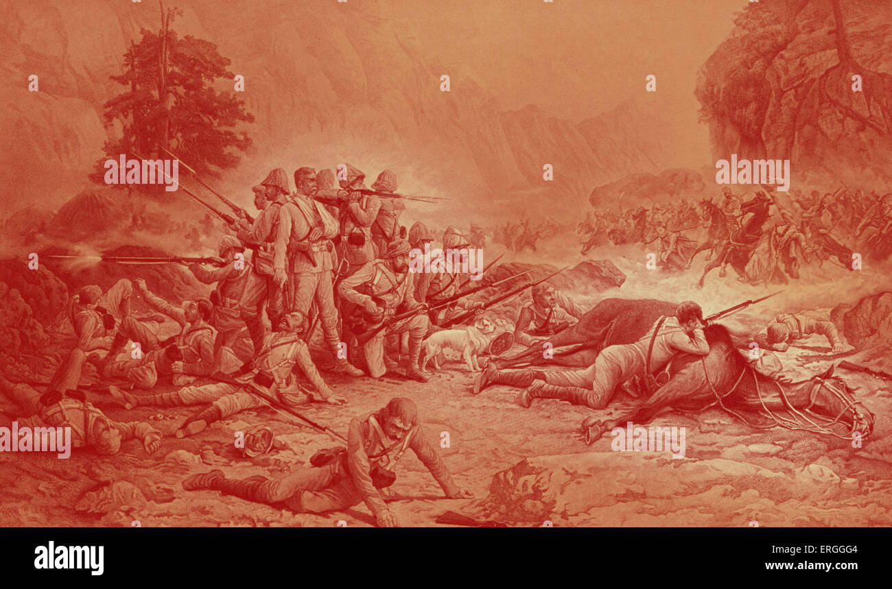 'The Last Eleven at Maiwand' - after painting by Frank Feller.  Battle of Maiwand, Afrghanistan, 27  July - Stock Image